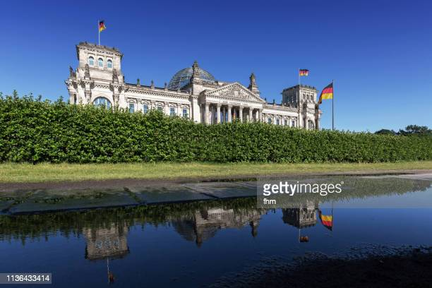 Reichstag building with reflection in a puddle (German parliament building) - Berlin, Germany