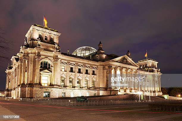 Reichstag illuminated at night
