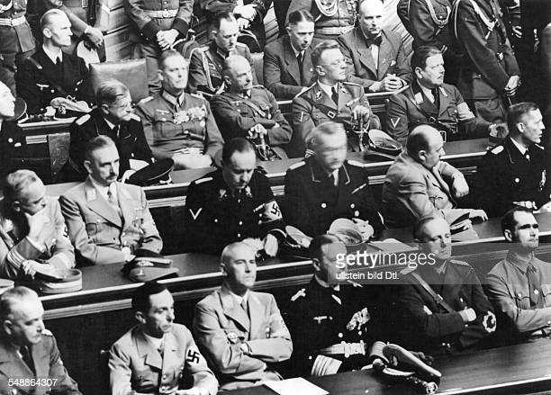 Reichstag Meeting at the Krolloper in Berlin during Hitlers speech for the war against Poland auf der first row from the right Rudolf Hess Joachim...
