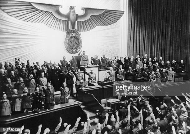 Reichstag sessions 1942 opening of the session in the Kroll Opera in Berlin when Hitler was granted further power of authority first row from left...