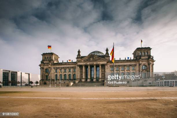 Reichstag under stormy clouds on a winter day