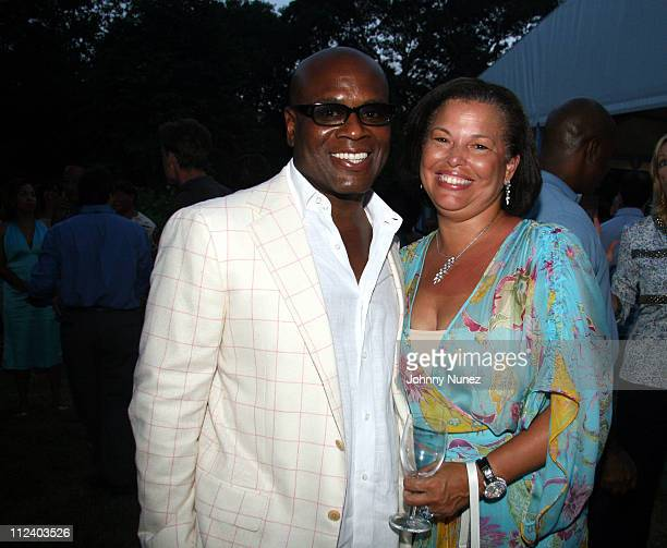 LA Reid and Debra L Lee during Art for Life Benefit Sponsored by Platinum Sponsors Target and Motorola at East Hampton Estate of Russell Simmons and...