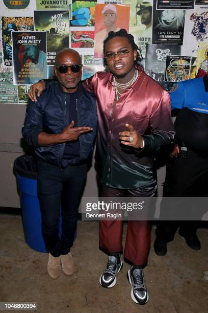 A Reid and Gunna are seen backstage during the BET Hip Hop Awards 2018 at Fillmore Miami Beach on October 6 2018 in Miami Beach Florida