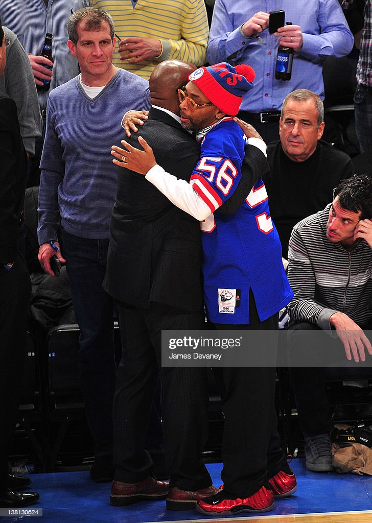 L.A. Reid and Spike Lee attend the Chicago Bulls VS New York Knicks at Madison Square Garden on February 2, 2012 in New York City.