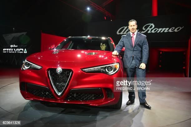 Reid Bigland head of Alfa Romeo unveils the Alfa Romeo Stelvio SUV at the Automobility LA Press Trade Days and Connected Car Expo ahead of the 2016...