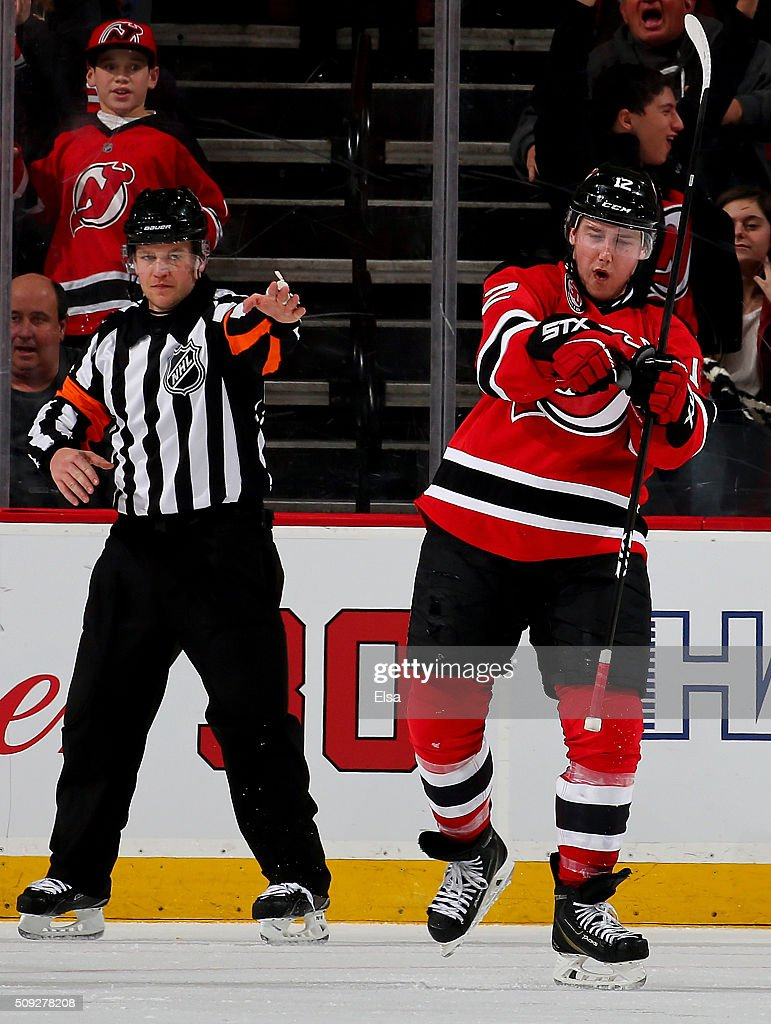 Reid Boucher #12 of the New Jersey Devils celebrates his game winning goal in the third period against the Edmonton Oilers on February 9, 2016 at Prudential Center in Newark, New Jersey.The New Jersey Devils defeated the Edmonton Oilers 2-1.