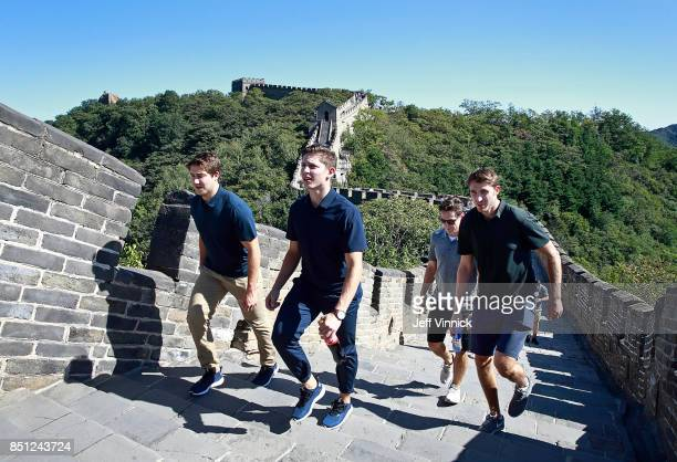 Reid Boucher Troy Stecher Scotty Upshall and Patrick Wiercioch of the Vancouver Canucks climb the Great Wall of China September 22 2017 in Beijing...