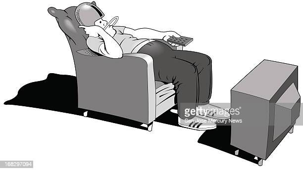Reid Brown BW illustration of man wearing football helmet slouching in easy chair and flipping TV channels with a remote
