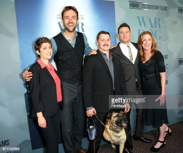 Reid Carolin Trent McDonald and dog Layka producer/actor Channing Tatum director Deborah Scranton and SVP of HBO Documentary Films Sarah Bernstein...