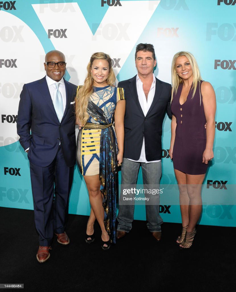 L.A. Reid, Demi Lovato, Simon Cowell, and Britney Spears attend the Fox 2012 Programming Presentation Post-Show Party at Wollman Rink - Central Park on May 14, 2012 in New York City.