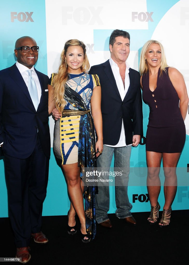 L.A. Reid, Demi Lovato, Simon Cowell and singer Britney Spears attend the Fox 2012 Programming Presentation Post-Show Party at Wollman Rink - Central Park on May 14, 2012 in New York City.