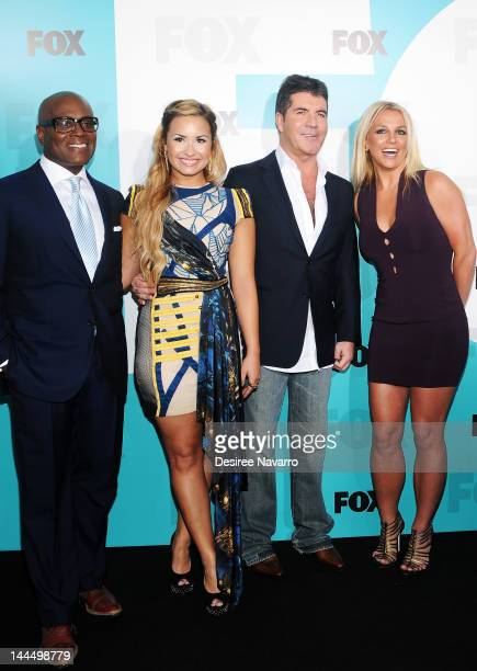 LA Reid Demi Lovato Simon Cowell and singer Britney Spears attend the Fox 2012 Programming Presentation PostShow Party at Wollman Rink Central Park...