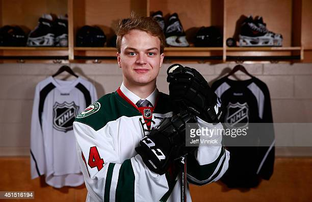Reid Duke, 169th overall pick of the Minnesota Wild, poses for a portrait during the 2014 NHL Entry Draft at Wells Fargo Center on June 28, 2014 in...