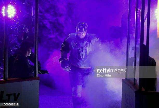 Reid Duke of the Henderson Silver Knights is introduced before a game against the Ontario Reign during the Silver Knights' inaugural regular-season...