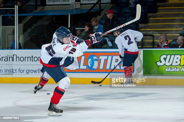 Reid Duke of the Lethbridge Hurricanes warms up against the Kelowna Rockets on Wednesday, October 16, 2013 at Prospera Place in Kelowna, British...