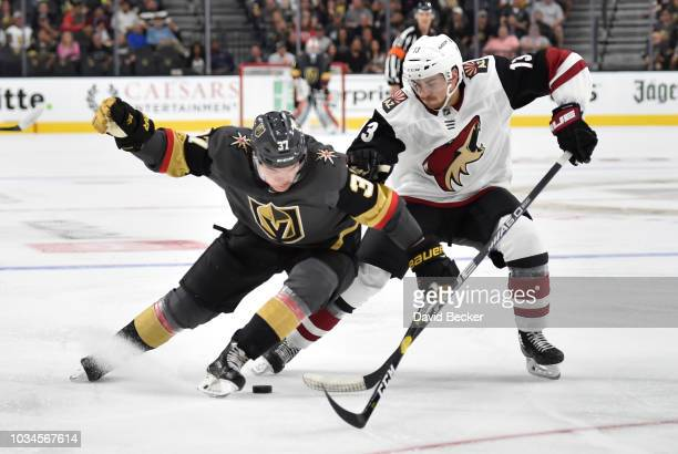 Reid Duke of the Vegas Golden Knights battles Vinnie Hinostroza of the Arizona Coyotes for the puck during the third period during a preseason game...