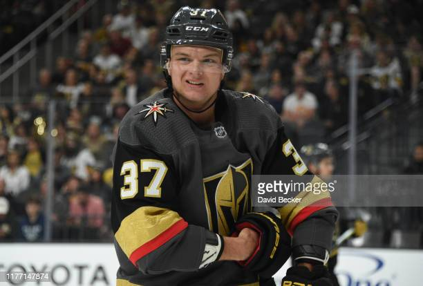 Reid Duke of the Vegas Golden Knights skates during the second period against the Colorado Avalanche at T-Mobile Arena on September 25, 2019 in Las...