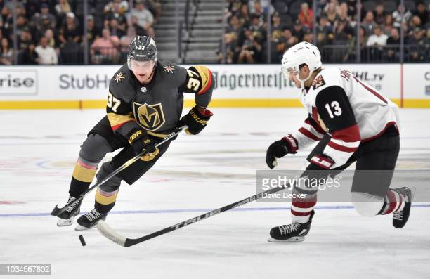 Reid Duke of the Vegas Golden Knights skates with the puck during the third period against the Arizona Coyotes during a preseason game at T-Mobile...