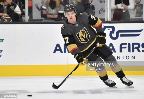 Reid Duke of the Vegas Golden Knights warms up prior to a game against the Chicago Blackhawks at T-Mobile Arena on December 6, 2018 in Las Vegas,...