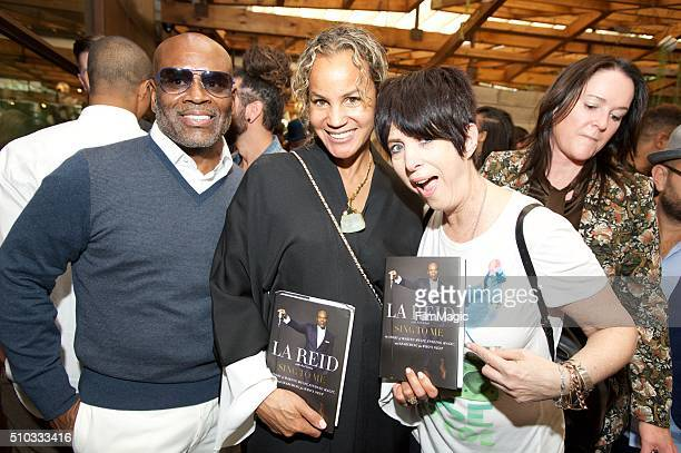 LA Reid Erica Reid and Diane Warren pose for a photo at the LA Reid 'Sing To Me' PreGrammy Brunch at Hinoki The Bird on February 13 2016 in Los...