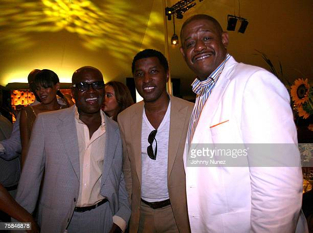 A Reid Kenneth Babyface Edmonds and Forest Whitaker attends the 8th Annual Art For Life Not So Mellow Yellow Auction July 28th 2007 in East Hampton...