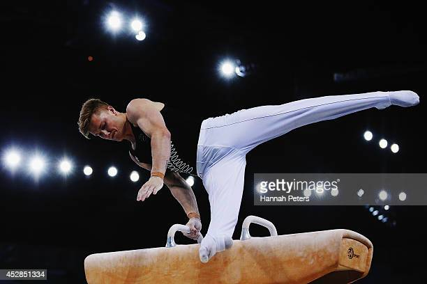 Reid McGowan of New Zealand competes in the Men's Team Final Individual Qualification at SECC Precinct during day five of the Glasgow 2014...