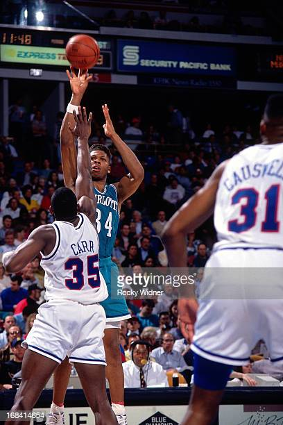 R Reid of the Charlotte Hornets shoots the ball against the Sacramento Kings during a game played on February 27 1991 at Arco Arena in Sacramento...