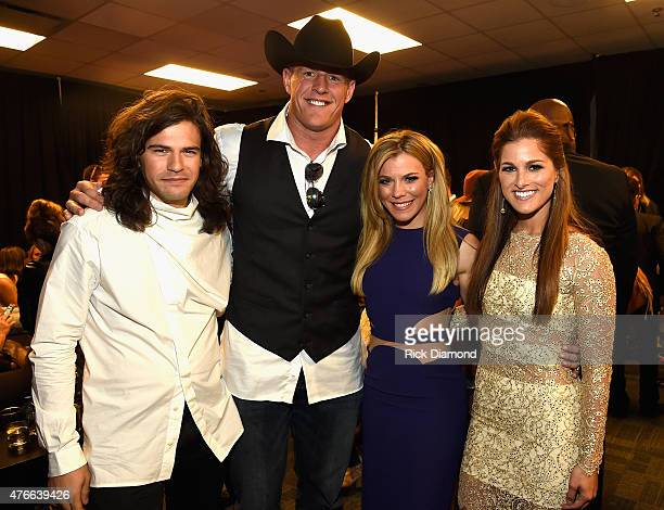 Reid Perry JJ Watts Kimberly Perry and Cassadee Pope attends the 2015 CMT Music awards at the Bridgestone Arena on June 10 2015 in Nashville Tennessee
