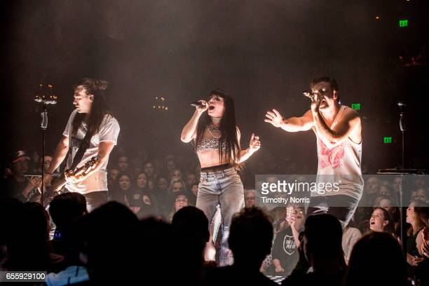 Reid Perry Kimberly Perry and Neil Perry of The Band Perry perform at El Rey Theatre on March 20 2017 in Los Angeles California