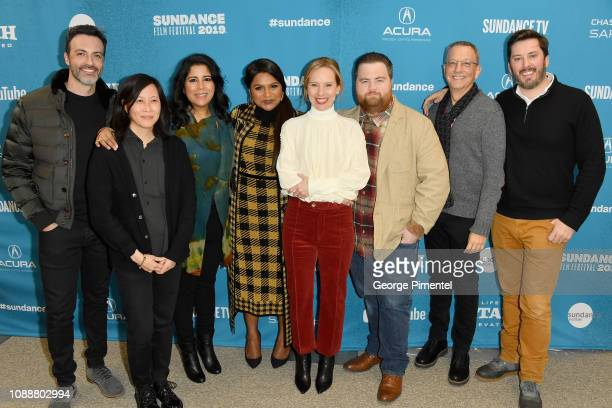 "Reid Scott, Kim Yutani, Nisha Ganatra, Mindy Kaling, Amy Ryan, Paul Walter Hauser, attends the ""Late Night"" Premiere during the 2019 Sundance Film..."