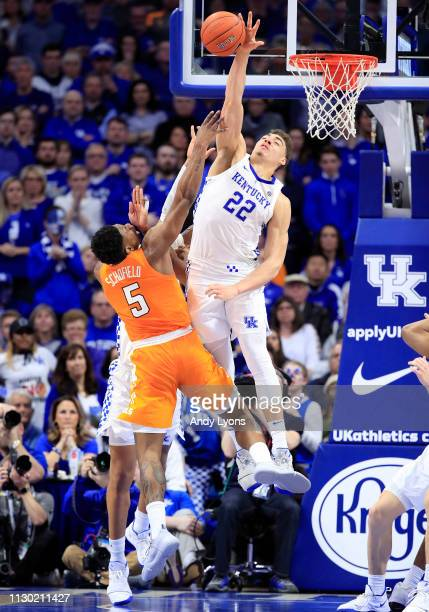Reid Travis of the Kentucky Wildcats blocks the shot of Admiral Schofield of the Tennessee Volunteers at Rupp Arena on February 16 2019 in Lexington...