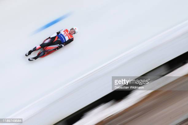Reid Watts of Canada competes in the Relay competition during the FIL Luge World Cup at OlympiaRodelbahn on November 24 2019 in Innsbruck Austria