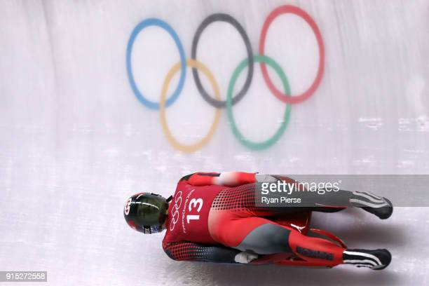 Reid Watts of Canada trains during Luge Training ahead of the PyeongChang 2018 Winter Olympic Games at Olympic Sliding Centre on February 7 2018 in...