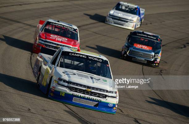 Reid Wilson driver of the TruNorth Chevrolet leads a pack of trucks during the NASCAR Camping World Truck Series MM's 200 presented by Casey's...