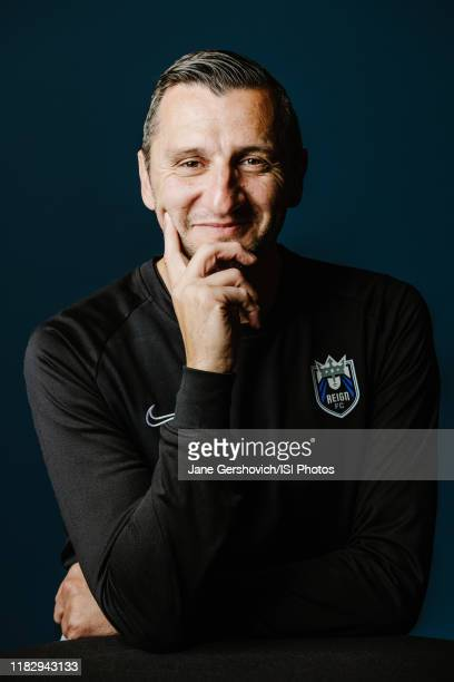 Reign FC head coach Vlatko Andonovski poses during a studio and portrait shoot at Cheney Stadium on October 16 2019 in Tacoma Washington