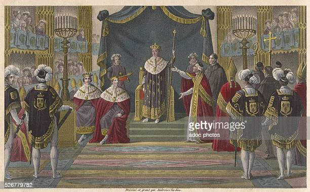 Reign of Charles X Charles X is sacred in Reims on may 6th 1825 Coloured engraving of 1825