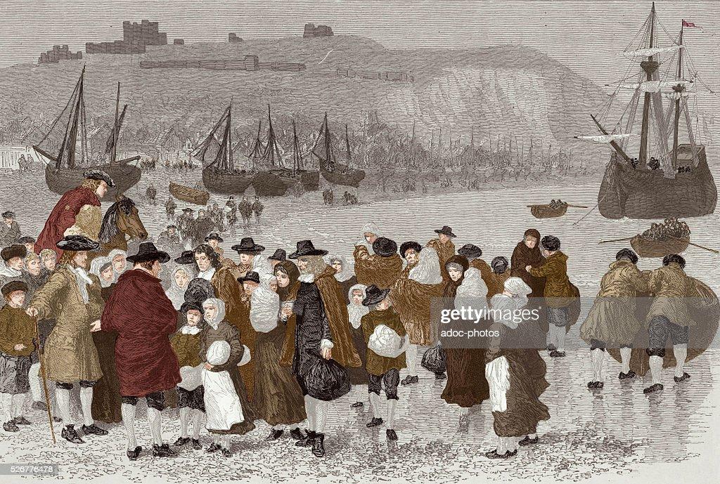 French Huguenots arriving in Dover : Nachrichtenfoto