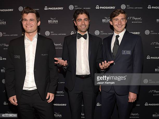 Reigning Chess Champion Magnus Carlsen Actor host Adrian Grenier and Chess grandmaster Sergey Karjakin attend 2016 Gala Opening for World Chess...