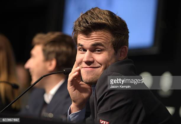 Reigning Chess Champion Magnus Carlsen speaks during the press conference after a draw at 2016 World Chess Championship at Fulton Market Building on...