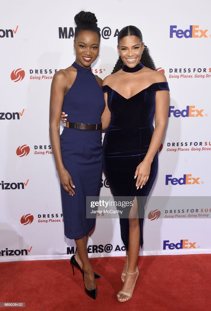 Reigning Miss USA Deshauna Barber and model Kamie Crawford arrive at Dress for Success 20th Anniversary Gala at Cipriani Wall Street on April 5, 2017 in New York City.