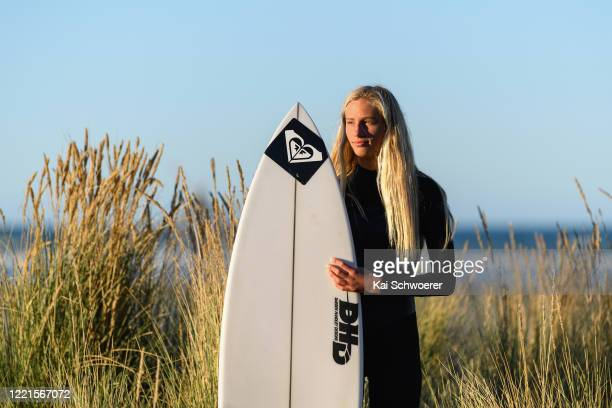 Reigning New Zealand Surfing champion Ava Henderson poses during a portrait session at Sumner Beach on April 28 2020 in Christchurch New Zealand...