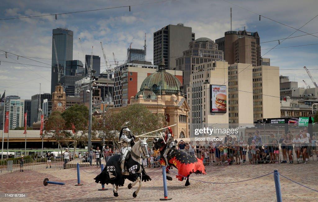 AUS: Medieval Jousting On Display In Melbourne CBD