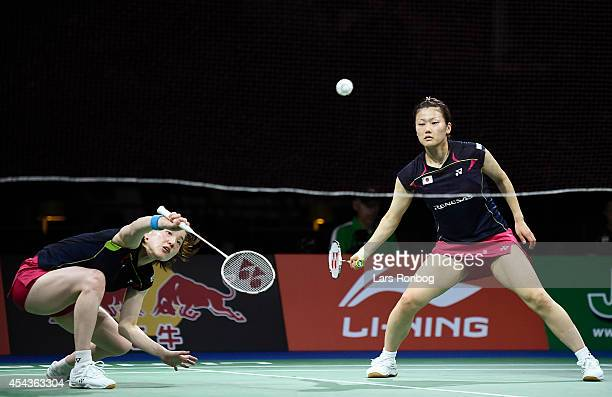 Reika Kakiiwa and Miyuki Maeda of Japan play against Xiaoli Wang and Yang Yu of China in the semifinals during the LiNing BWF World Badminton...