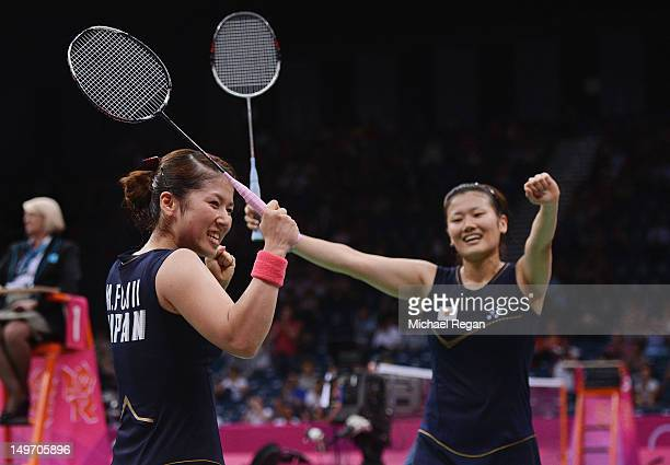 Reika Kakiiwa and Mizuki Fujii of Japan celebrate winning against Alex Bruce and Michelle Li of Canada in their Women's Doubles Badminton semi final...