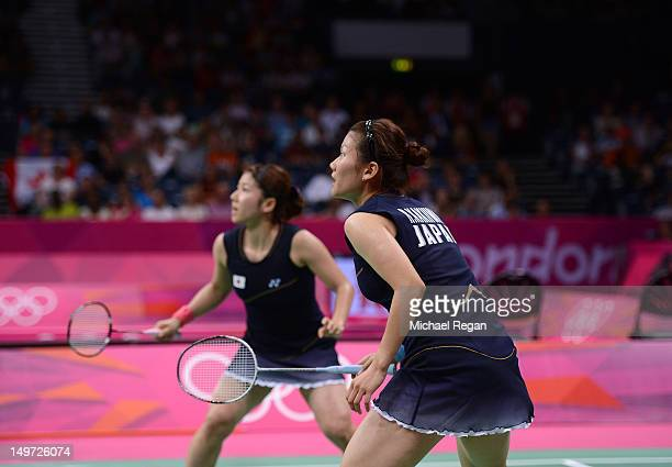 Reika Kakiiwa and Mizuki Fujii of Japan compete against Alex Bruce and Michelle Li of Canada in their Women's Doubles Badminton semi final on day 6...