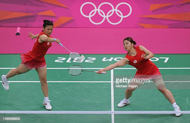 Reika Kakiiwa and Mizuki Fujii of Japan compete during their Women's Doubles Badminton match against Yu Chin Chien and Wen Hsing Cheng of Chinese...