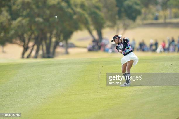 Reika Usui of Japan hits her second shot on the 5th hole during the second round of the AXA Ladies Golf Tournament at the UMK Country Club on March...