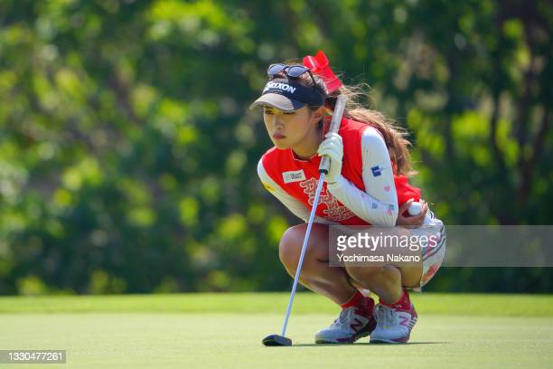 Reika Usui of Japan lines up a putt on the 17th green during the final round of Daito Kentaku eHeyanet Ladies at Takino Country Club on July 25, 2021...