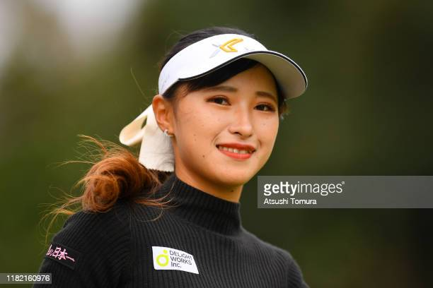 Reika Usui of Japan smiles after her tee shot on the 2nd hole during the final round of Fujitsu Ladies at Tokyu Seven Hundred Club on October 20 2019...