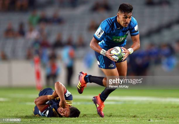 Reiko Ioane makes a break during the round six Super Rugby match between the Blues and the Highlanders at Eden Park on March 22 2019 in Auckland New...